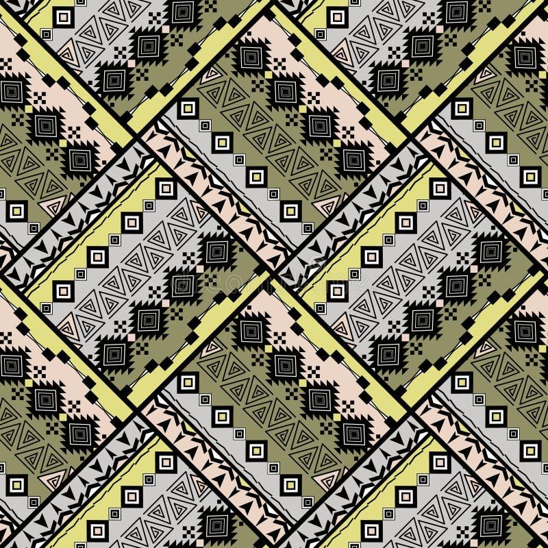 Nahtloses ethnisches geometrisches Muster patchwork Grauer, grüner Hintergrund vektor abbildung