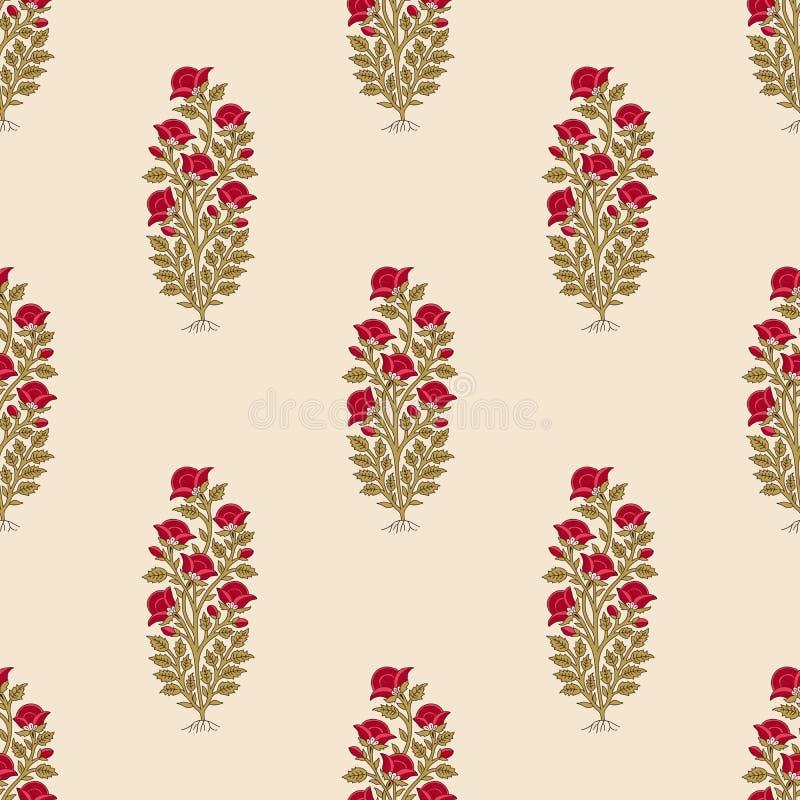 Nahtloses ethnisches Indien-Blumenmuster stock abbildung