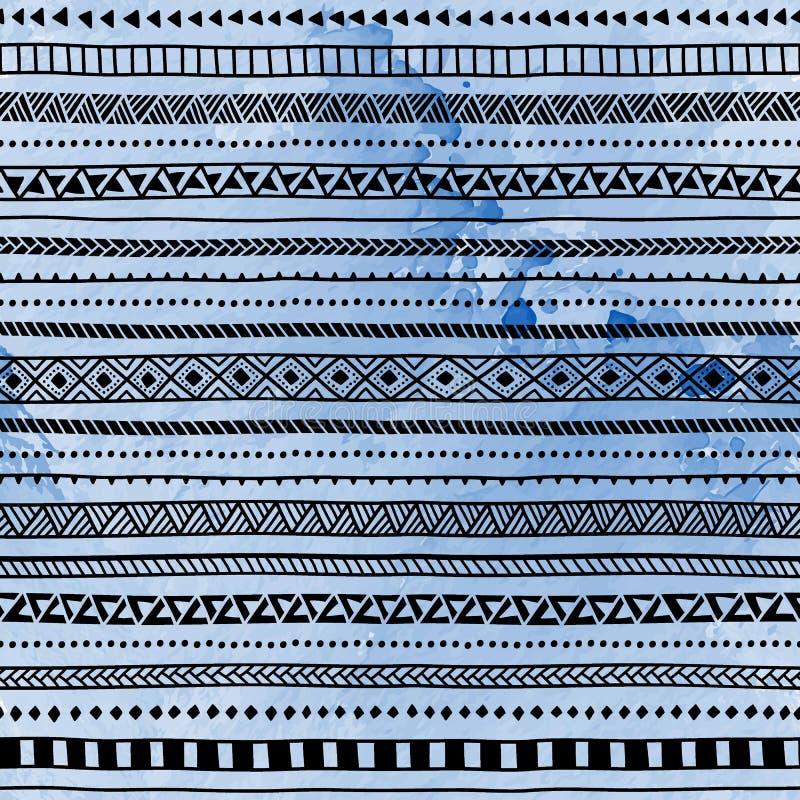 Nahtloses ethnisches Muster Hand gezeichnete Verzierung Blaues und schwarzes vec vektor abbildung