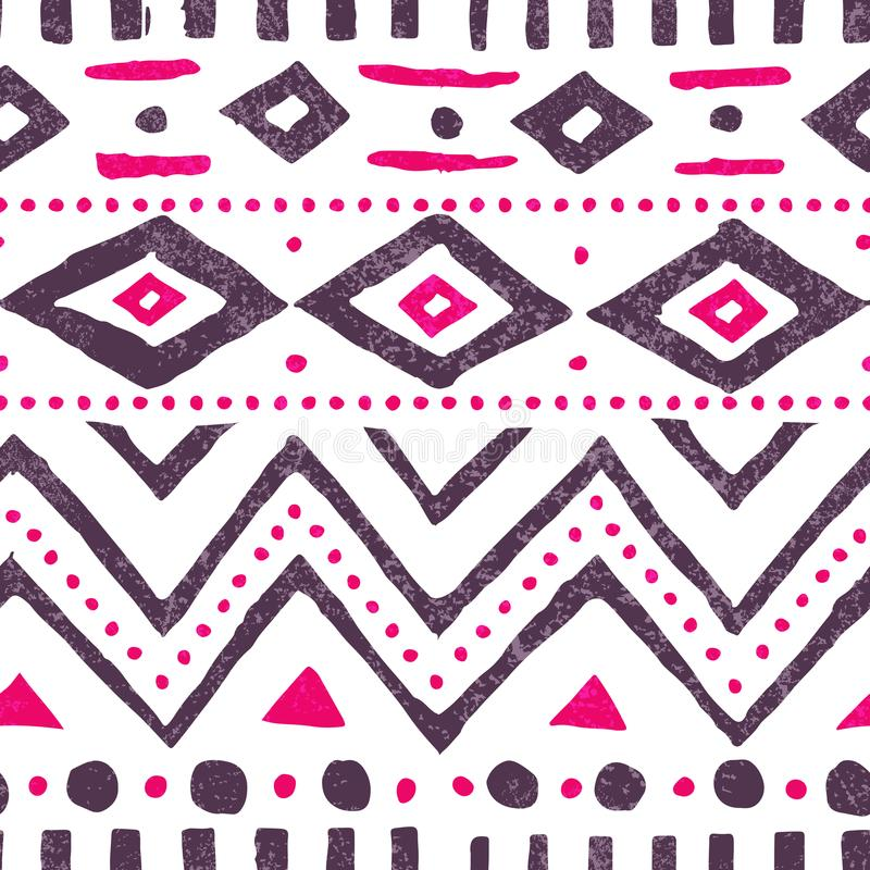 Nahtloses ethnisches Muster Netter Weinlesedruck Weiß, Purpur und p lizenzfreie abbildung