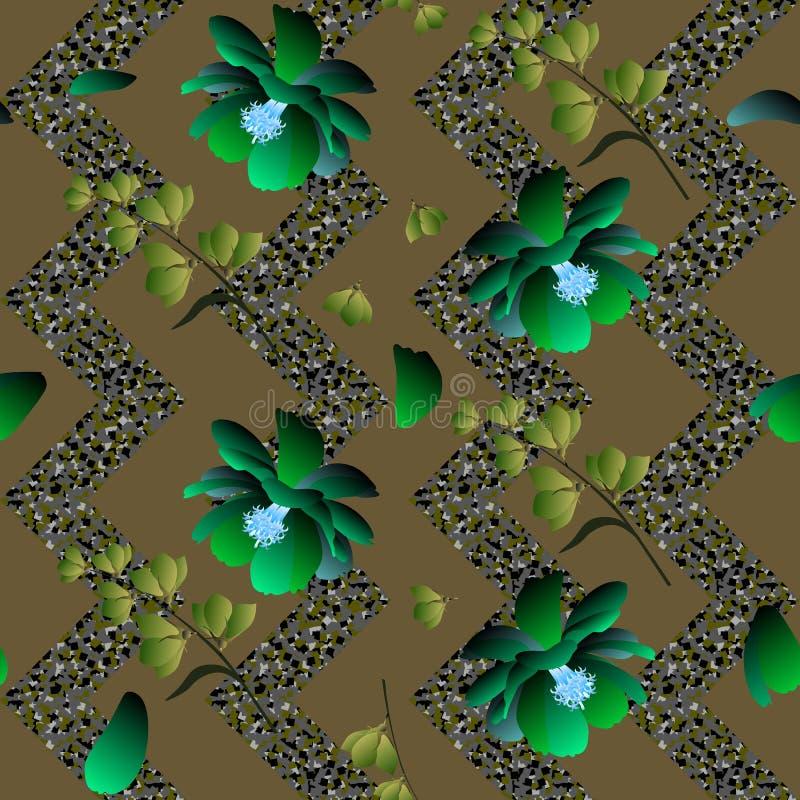 Nahtloses exotisches Blumenmuster mit stilisiertem grünem Kosmos und Glockenblumen auf Mosaikzickzackhintergrund Druck für Gewebe vektor abbildung