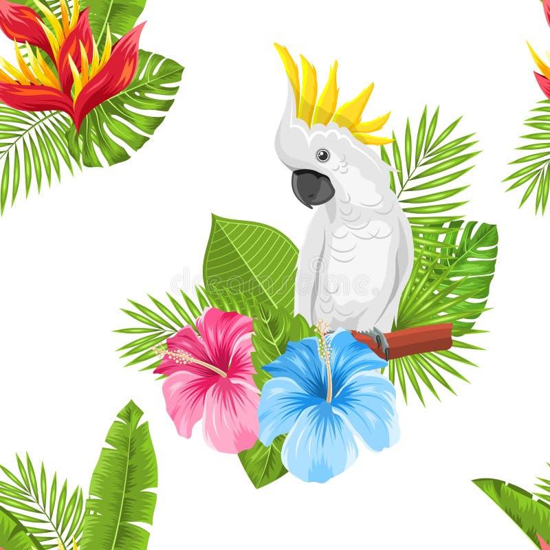 Nahtloses exotisches Muster mit Papageien-Kakadu und tropische Blätter und Blumen lizenzfreie abbildung