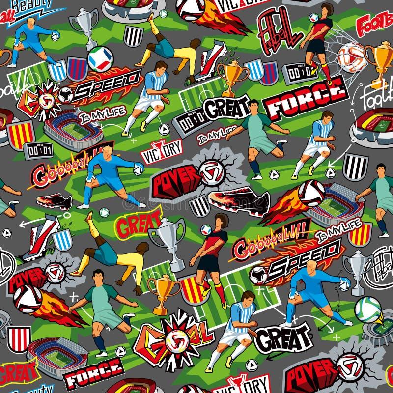 Nahtloses Farbmuster auf einem Fußballthema auf einem grauen Hintergrund Fußballattribute, Fußballspieler von verschiedenen Teams vektor abbildung