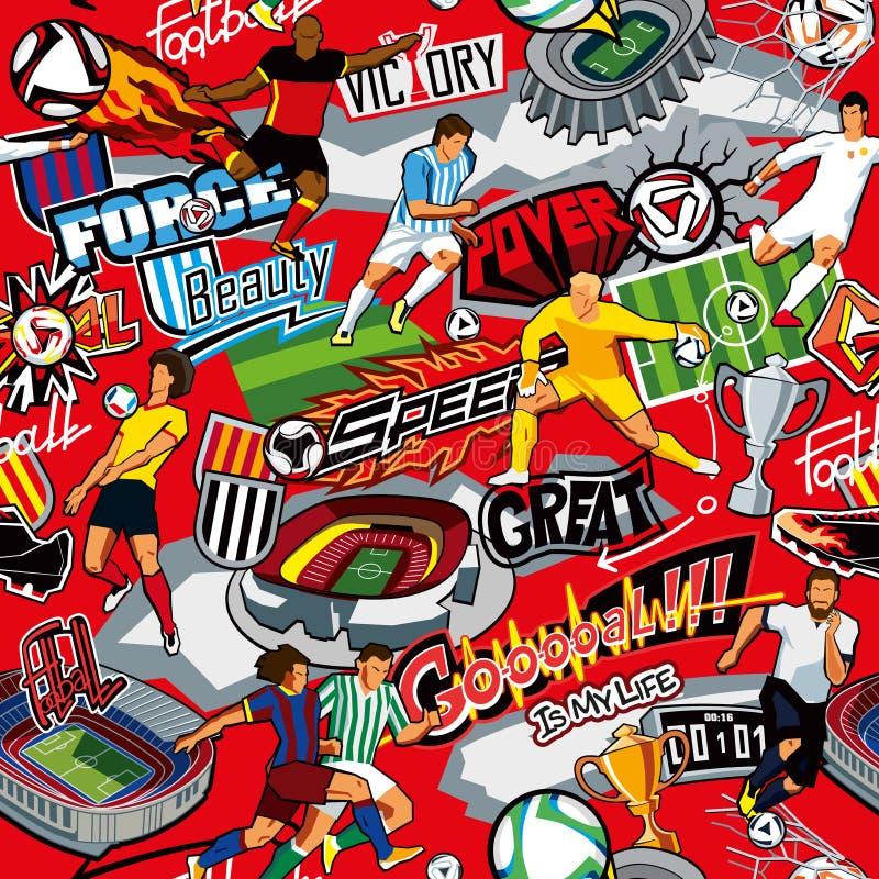 Nahtloses Farbmuster auf einem Fußballthema auf einem roten Hintergrund Fußballattribute, Fußballspieler von verschiedenen Teams, stock abbildung