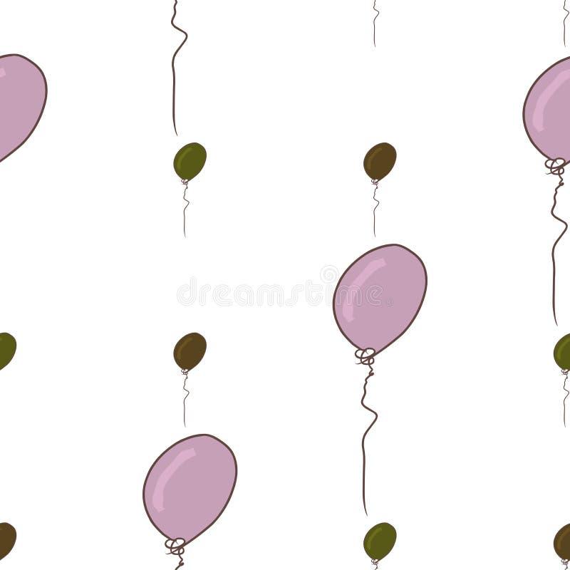 Nahtloses Fliegen steigt Illustrationshintergrundzusammenfassung im Ballon auf, die gezeichnete Hand Kreativ, bunt, Vektor u. Hin lizenzfreie abbildung