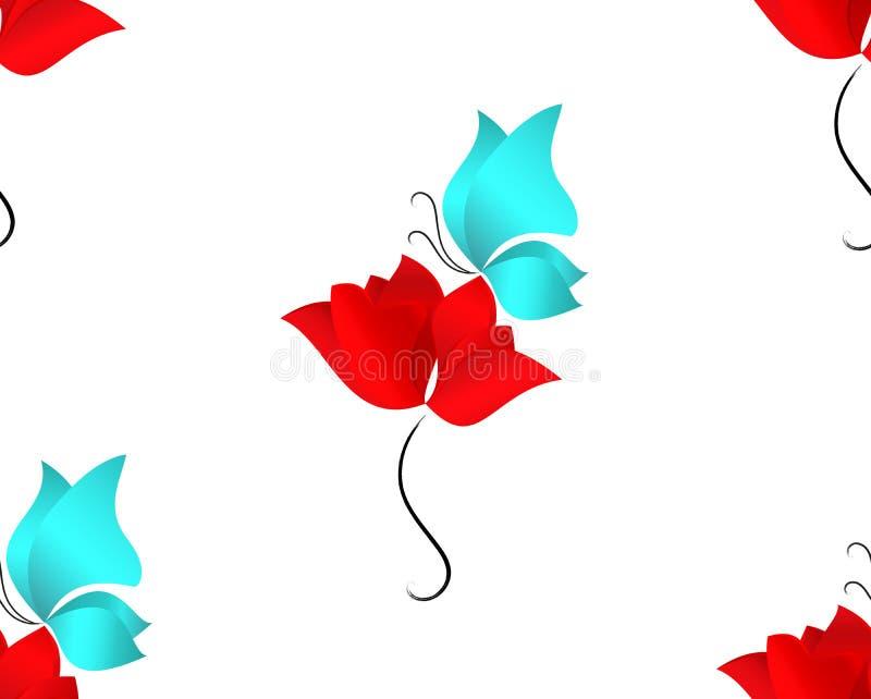 Nahtloses Frühlings-oder Sommer-Blumenmuster Abstrakte rote Blume, Mohnblume, Tulpe oder rosafarbener und blauer Schmetterling au lizenzfreie abbildung