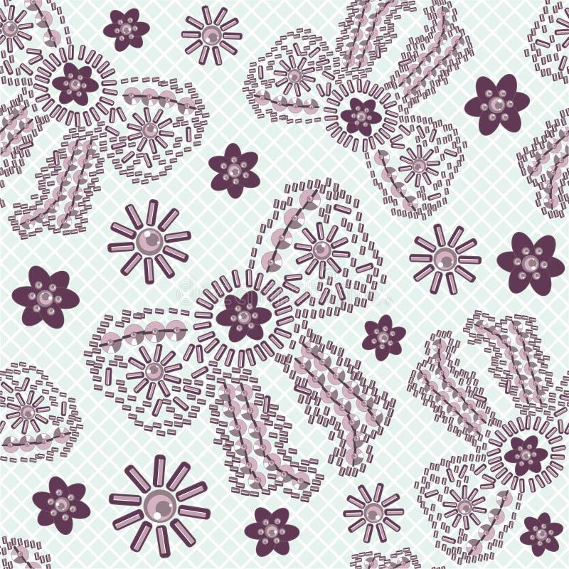 Nahtloses Fraubogen- und -blumenmuster von den glänzenden Steinen, von verziertem Purpur und vom Rosa vektor abbildung