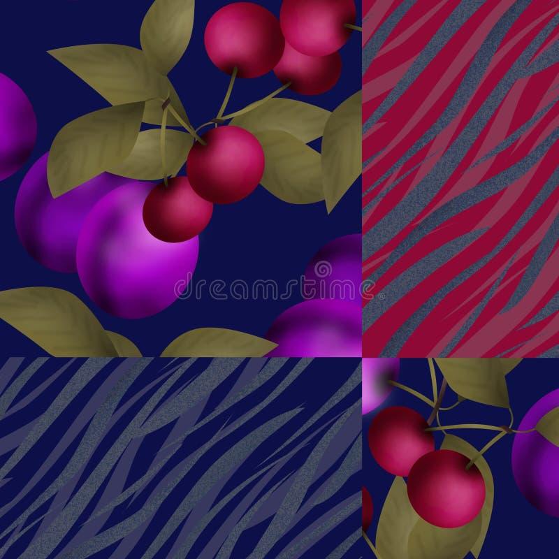 Nahtloses Fruchtmuster des Patchworks mit Pflaumen- und Kirschhintergrund vektor abbildung
