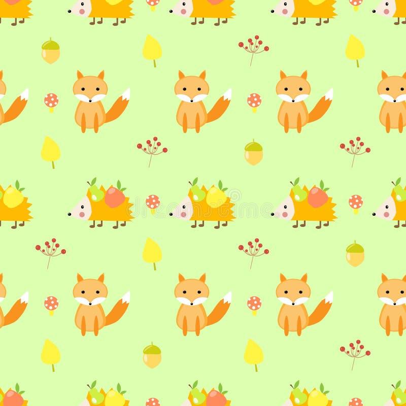 Nahtloses Fuchsmuster des netten Herbstes, Igeles vektor abbildung