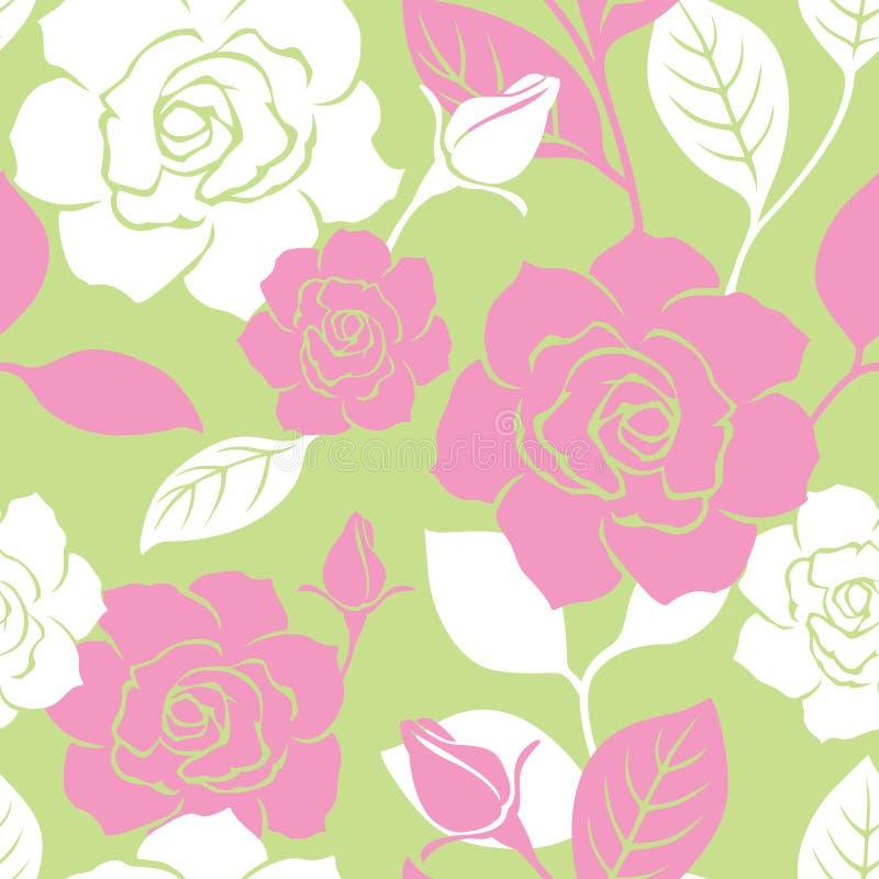 Nahtloses Garten-Rosen-Muster lizenzfreie abbildung