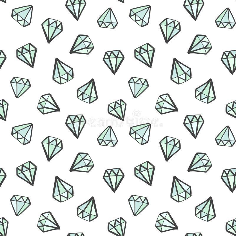 Nahtloses Gekritzelmuster des Diamanten Handgezogene Edelsteine, Diamanten Mode, girly Hintergrund vektor abbildung