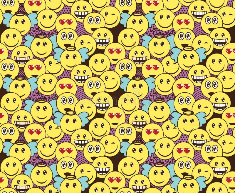Nahtloses Gekritzelmuster mit Spaß positiven Emoticonausdrücken Lächeln, Wink, Engel, in der Liebe, die Lachensmiley überrascht e lizenzfreie abbildung