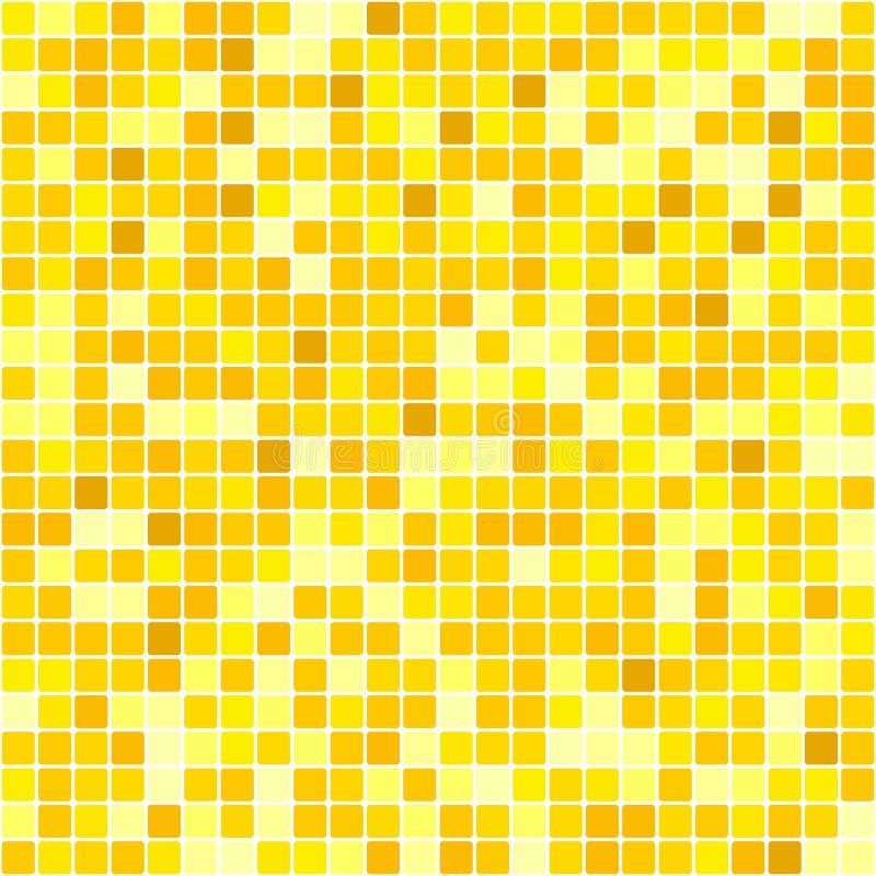 Nahtloses gelbes abstraktes Muster Geometrischer Druck bestanden aus den gelben und orange Quadraten auf weißem Hintergrund Nacha stock abbildung