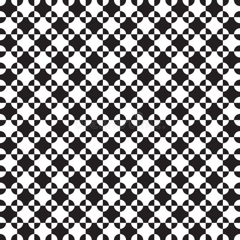 Nahtloses geometrisches Beschaffenheitsmuster von Überschneidungskreisen und von Quadraten lizenzfreie abbildung