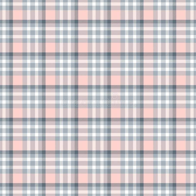 Nahtloses geometrisches Ginghammuster entziehen Sie Hintergrund Blaue, Rosa-, Graue und weißestreifen lizenzfreie abbildung