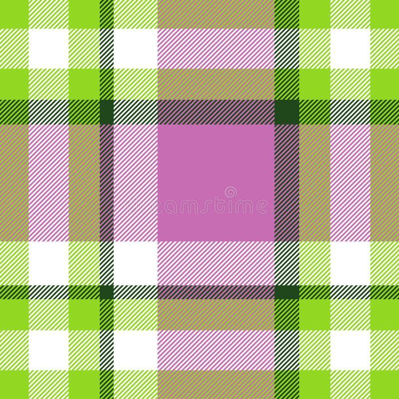 Nahtloses geometrisches Ginghammuster entziehen Sie Hintergrund Grüne, Rosa- und weißestreifen stock abbildung