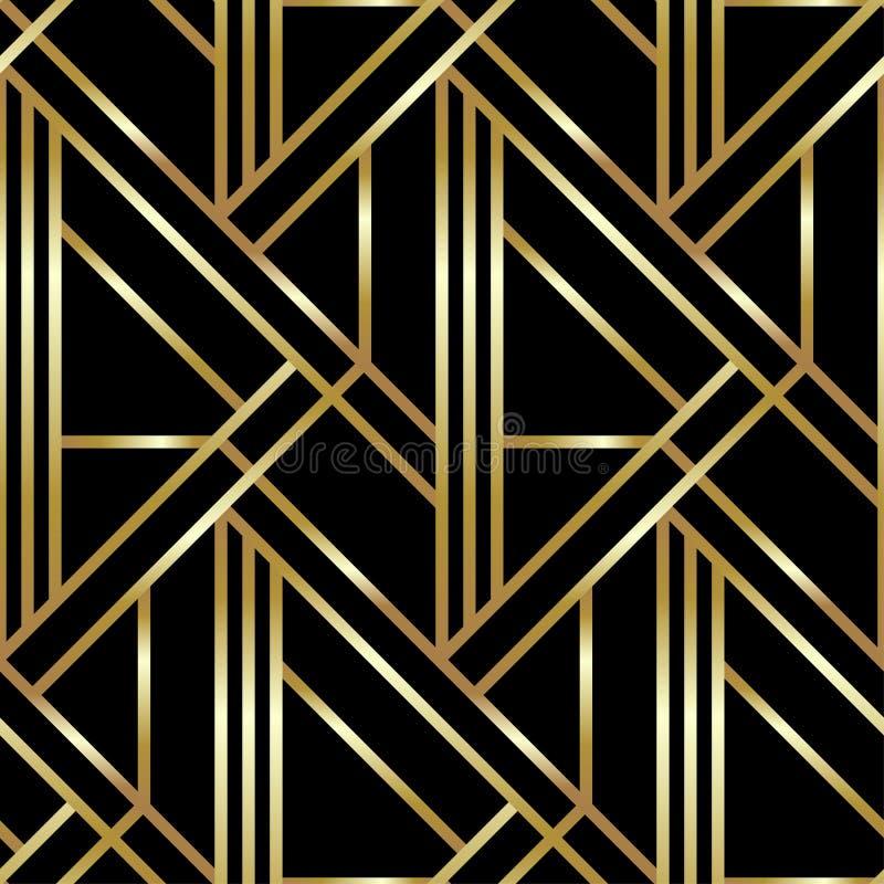 Nahtloses geometrisches goldenes Art Deco-Muster Vektormodehintergrund in der Weinleseart lizenzfreie abbildung