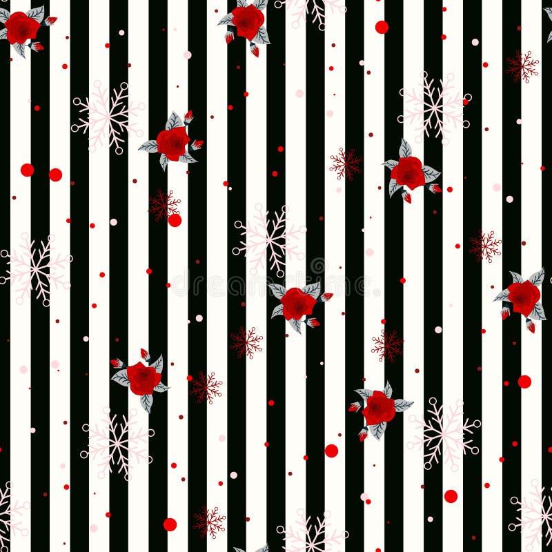 Nahtloses geometrisches horizontales gestreiftes Muster der Zusammenfassung mit Schwarzweiss-Streifen blühen und Schneeflocke Auc lizenzfreie abbildung