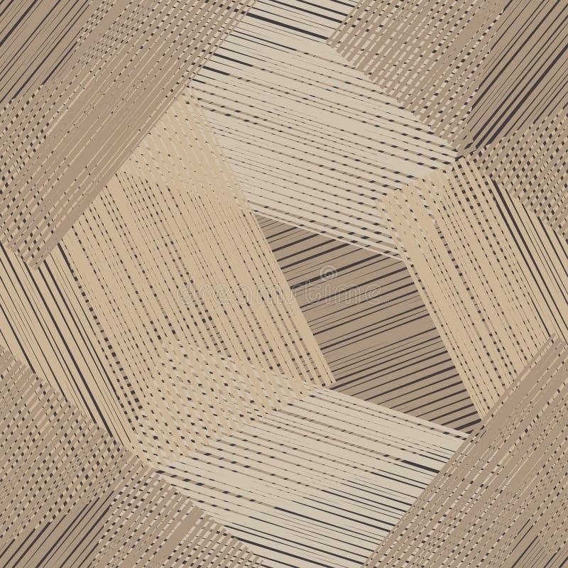 Nahtloses geometrisches Muster Brown-Boden mit hölzerner Beschaffenheit Gekritzelbeschaffenheit stockbilder
