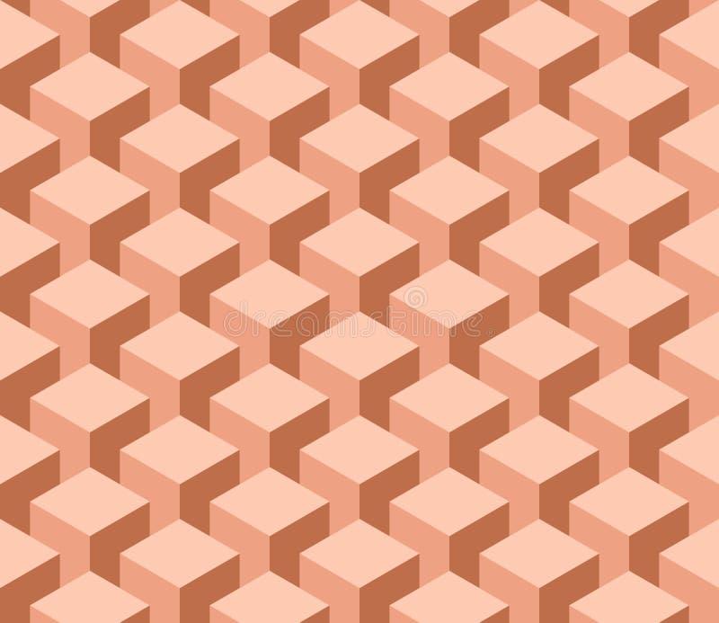 Nahtloses geometrisches Muster 3D von Würfelspalten Abstrakter Designvektorhintergrund in den Schatten der Orange lizenzfreie abbildung