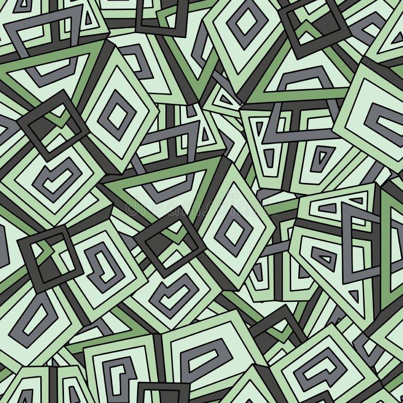 Nahtloses geometrisches Muster in den dunkelgrünen Tönen khakifarbig Für Modegewebe Stoff, Hintergründe Nahtloses Muster, Hinterg vektor abbildung