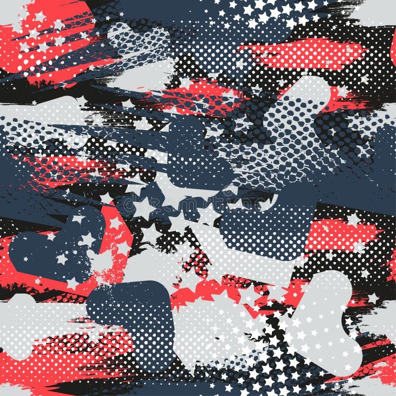 Nahtloses geometrisches Muster der Zusammenfassung mit geometrischen Formen, Punkte, bunte Sprühfarbetinte Städtisches Muster des stock abbildung