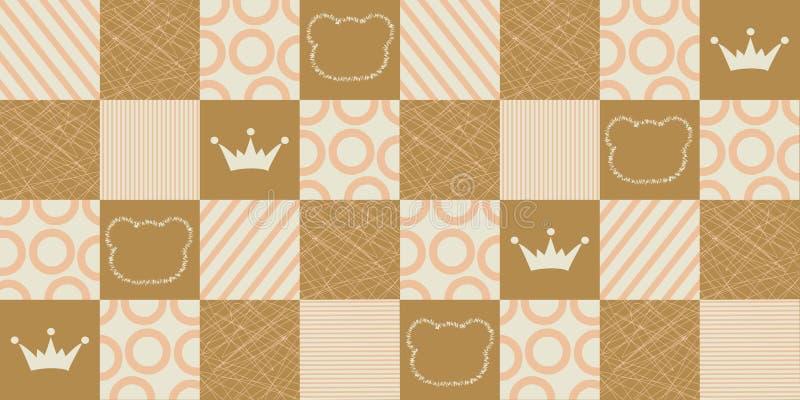 Nahtloses geometrisches Muster des Vektors mit Kronen und Bären Bunte Zusammenfassung geometrisch stock abbildung
