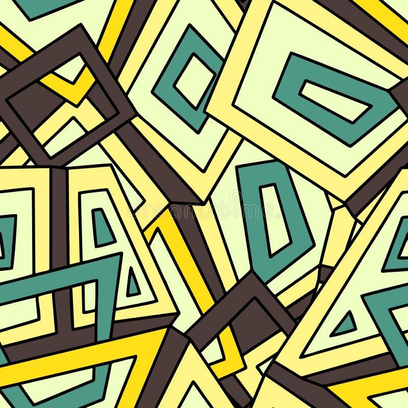 Nahtloses geometrisches Muster herein in den gelben und grünen Tönen khakifarbig Für Modegewebe Stoff, Hintergründe stock abbildung