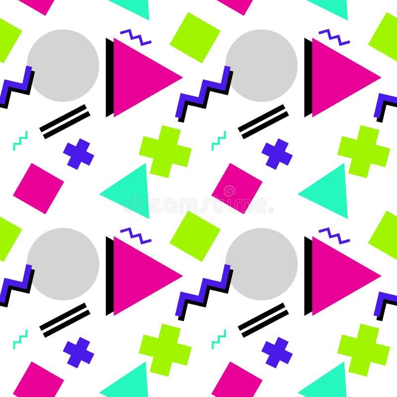 Nahtloses geometrisches Muster mit Dreieck, Rechteck, Zickzack und lizenzfreie abbildung