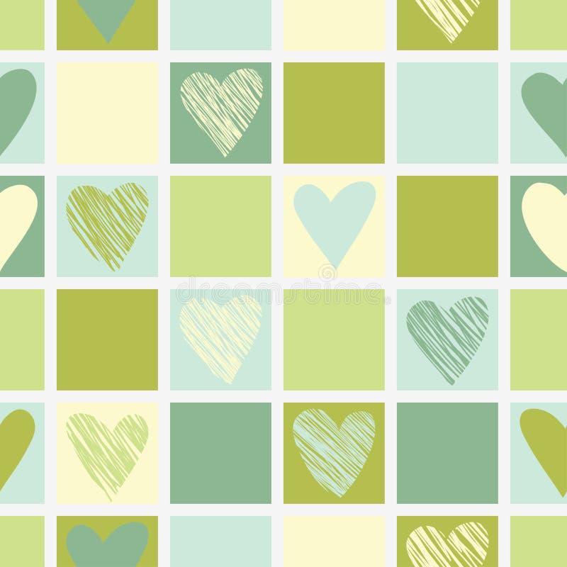 Nahtloses geometrisches Muster mit Herzen. stock abbildung