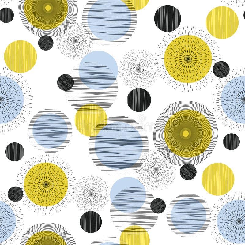 Nahtloses geometrisches Muster mit Kreisen und Halbrunden Skandinavische Art Blaue Vierecke 2 Vektortapete für lizenzfreie abbildung