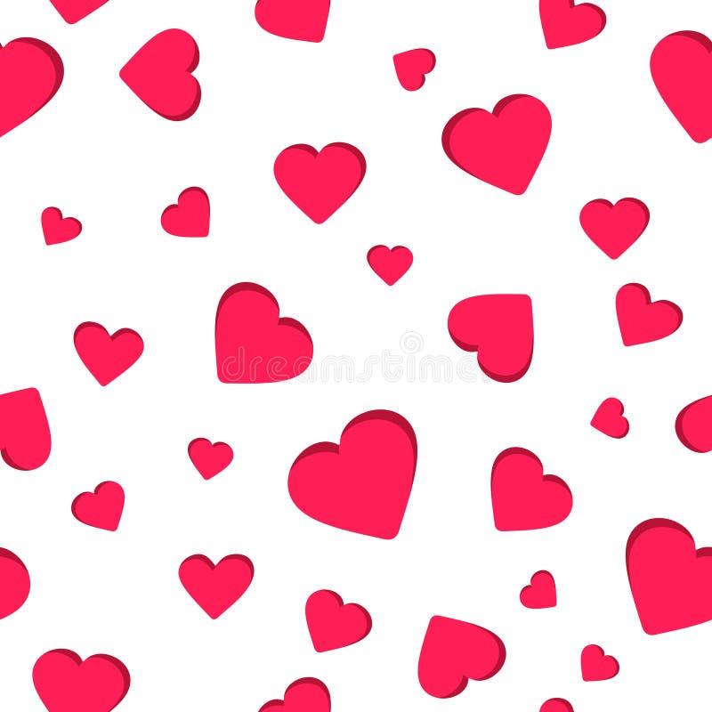 Nahtloses geometrisches Muster, roter Herzvalentinsgruß ` s Tag auf weißem Hintergrund, streift abstrakte Schablone, Vektorillust lizenzfreie abbildung