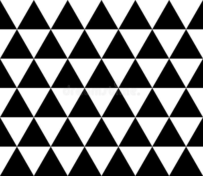 Nahtloses geometrisches Muster von isometrischen Dreiecken Abstrakter Vektorhintergrund in Schwarzweiss stock abbildung