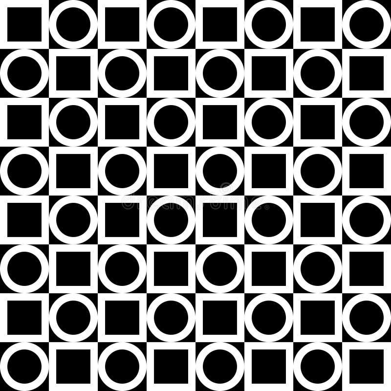 Nahtloses geometrisches Muster Weiße Kreise und Quadrate auf einem schwarzen Hintergrund Vektor vektor abbildung