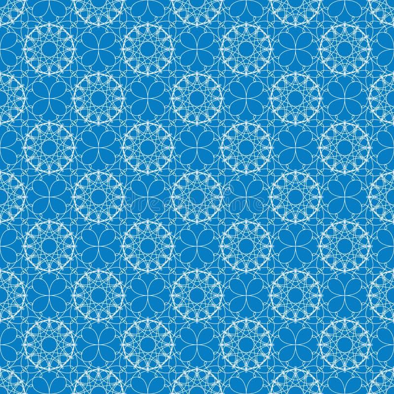 Nahtloses geometrisches Muster Weiße Spitzen- Verzierung auf einem blauen Hintergrund Winterschneeflockenthema Auch im corel abge vektor abbildung