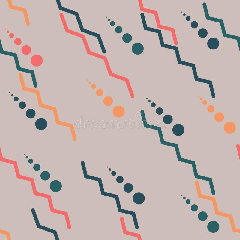 Nahtloses geometrisches Muster Zickzacklinien und Kreise von verschiedenen Größen Einfache Formen, mehrfarbig stock abbildung