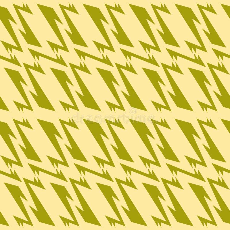 Nahtloses geometrisches Musterolivgrün und gedämpfte gelbe Farben lizenzfreie abbildung