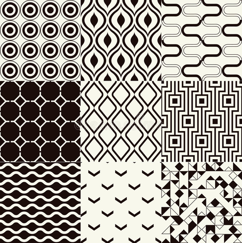Nahtloses geometrisches Schwarzweiss-Muster stock abbildung