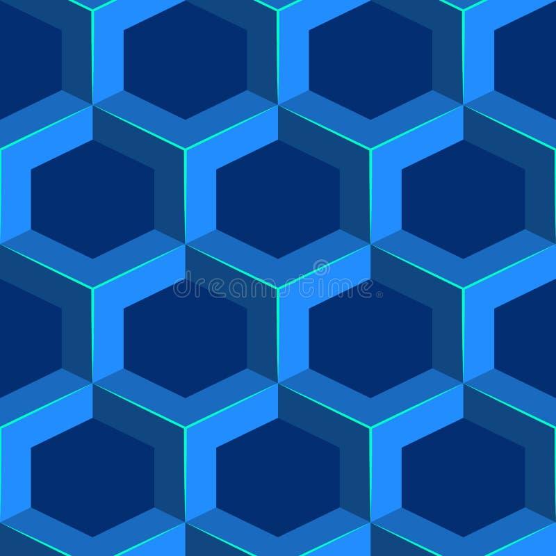 Nahtloses geometrisches volumetrisches Muster Blauer isometrischer Bienenwabenhintergrund stock abbildung