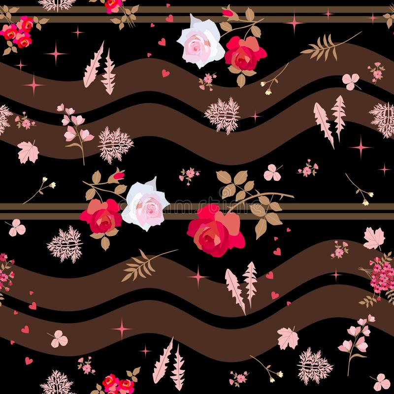 Nahtloses gestreiftes mit Blumenmuster in der Weinleseart Rosa und rote Rosen, Glockenblumen und verschiedene Blätter, Herzen und vektor abbildung