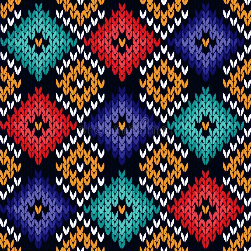 Nahtloses gestricktes buntes Muster lizenzfreie abbildung