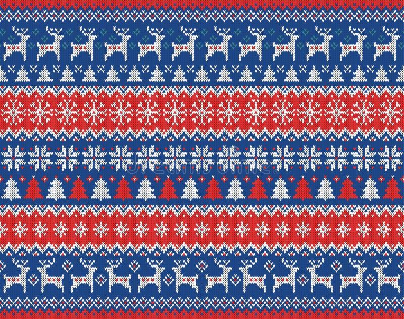 Nahtloses gestricktes Muster der frohen Weihnachten und des neuen Jahres mit Weihnachtsbällen, -schneeflocken und -tanne Skandina lizenzfreie abbildung
