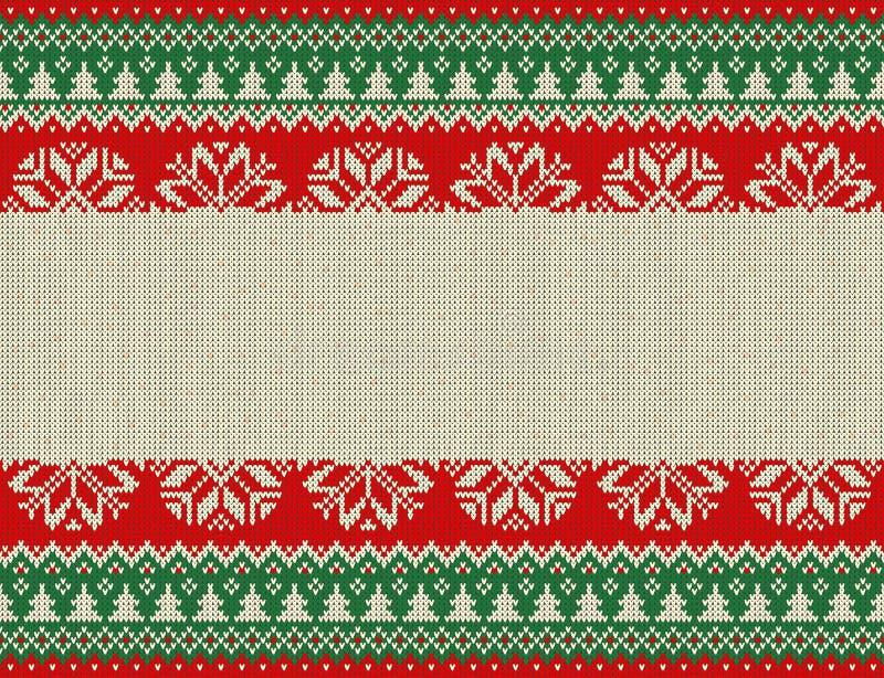Nahtloses gestricktes Muster der frohen Weihnachten und des neuen Jahres mit Weihnachtsbällen, -schneeflocken und -tanne Skandina stock abbildung