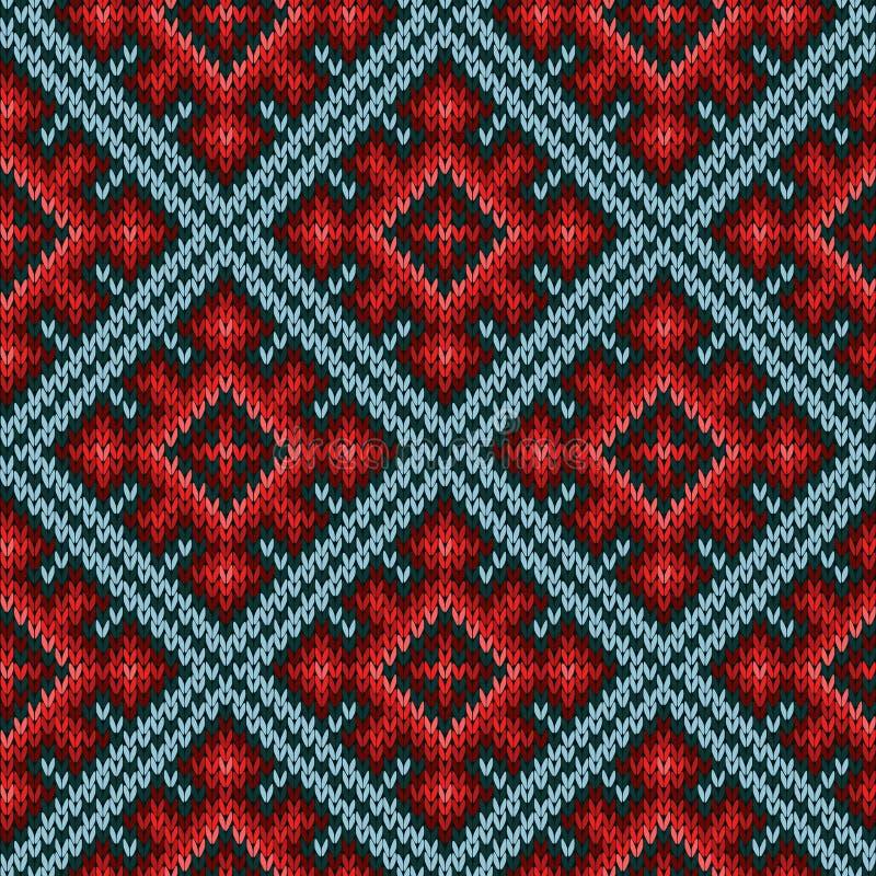 Nahtloses gestricktes Muster hauptsächlich in den roten und blauen Farben vektor abbildung