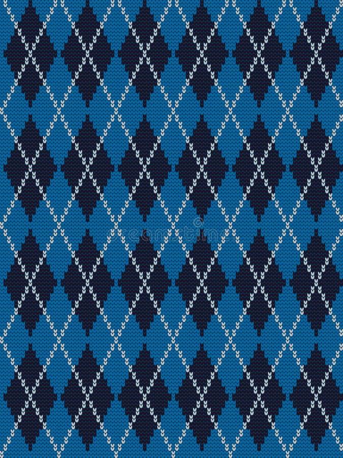 Nahtloses gestricktes Muster mit Rauten in den blauen, Schwarzweiss-Farben lizenzfreie abbildung