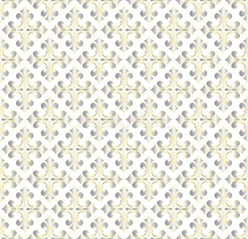 Nahtloses, glänzendes, metallisches Vintage-Ornament-Muster im weißen Hintergrund vektor abbildung