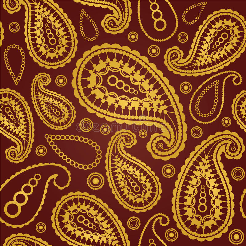 Nahtloses Gold und braunes Paisley-Muster lizenzfreie abbildung