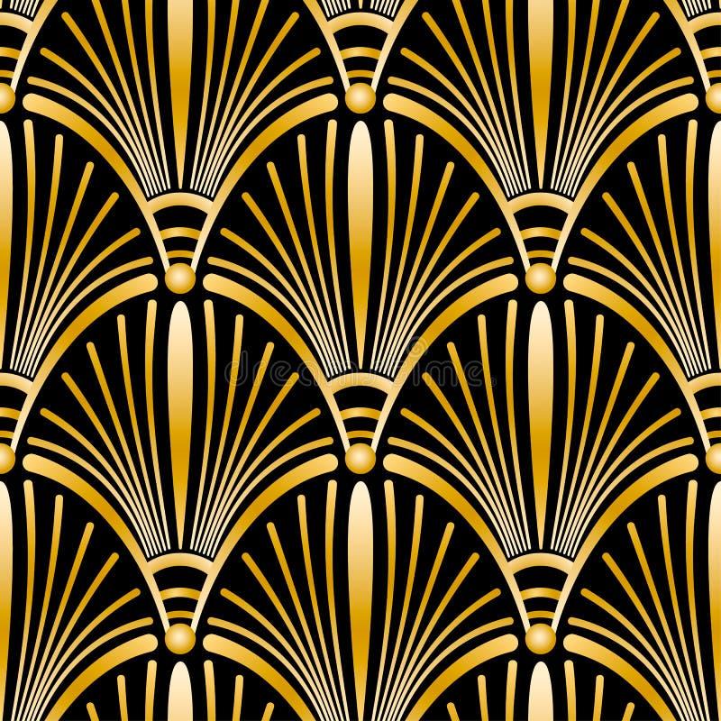 Nahtloses goldenes Art Deco-Muster mit abstrakten Oberteilen vektor abbildung