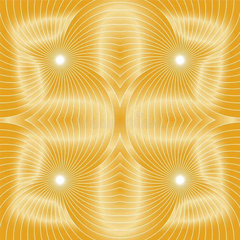 Nahtloses goldenes Spiralemuster Sichtvolumen-Effekt Passend für Gewebe, Gewebe und Verpackung stock abbildung