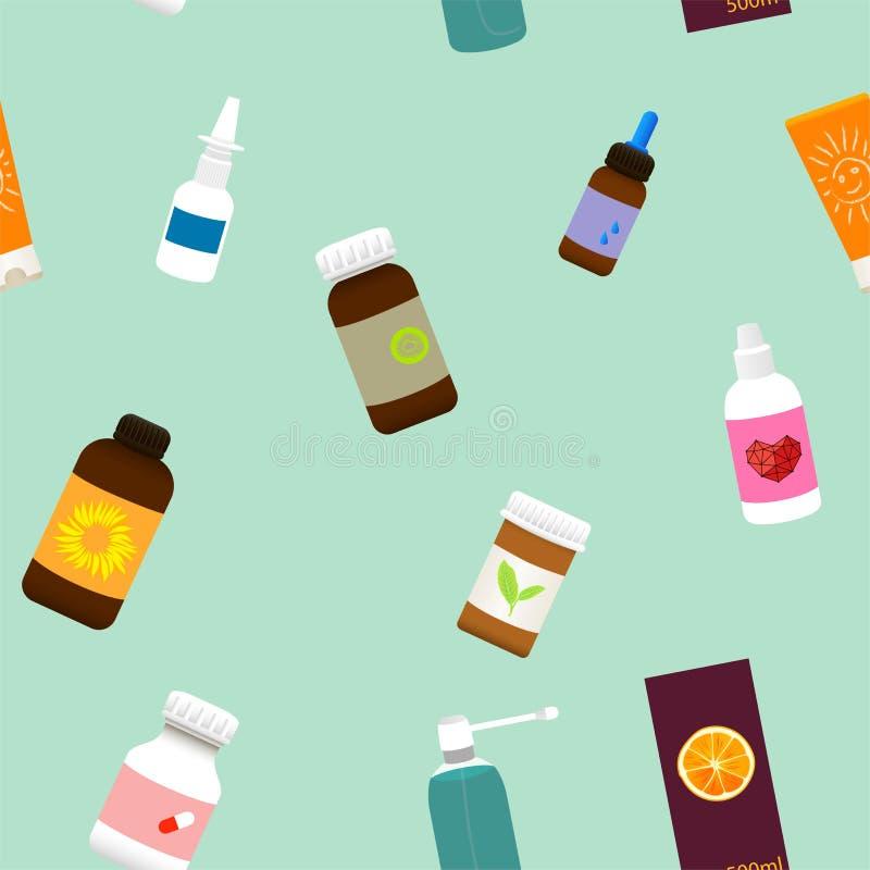 Nahtloses grünes medizinisches Muster mit Medizinflaschen, -sprays und -pillen Vektor lizenzfreie abbildung